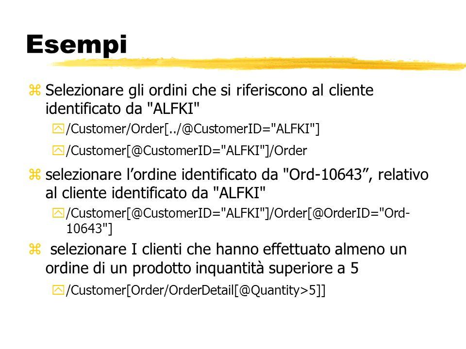 EsempiSelezionare gli ordini che si riferiscono al cliente identificato da ALFKI /Customer/Order[../@CustomerID= ALFKI ]